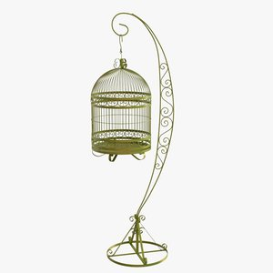 vintage bird cage stand 3D model