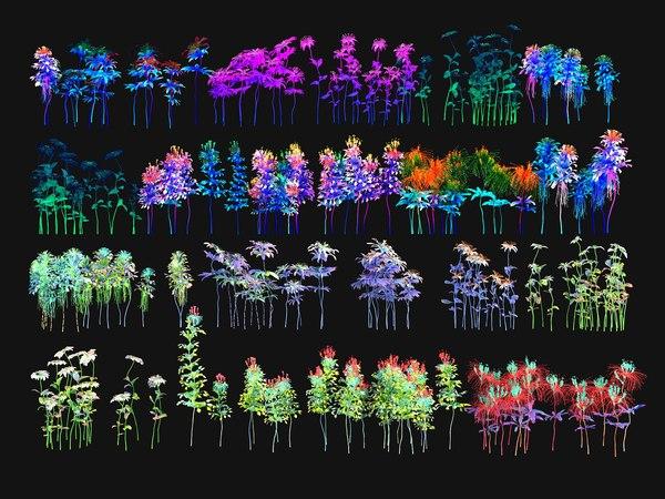 alien flower pack 3D model