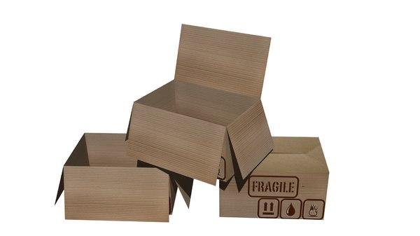 3D model low-poly cardboard box