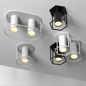 3D set 4 spot lamps