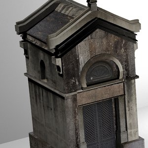 3D model weathered mausoleum