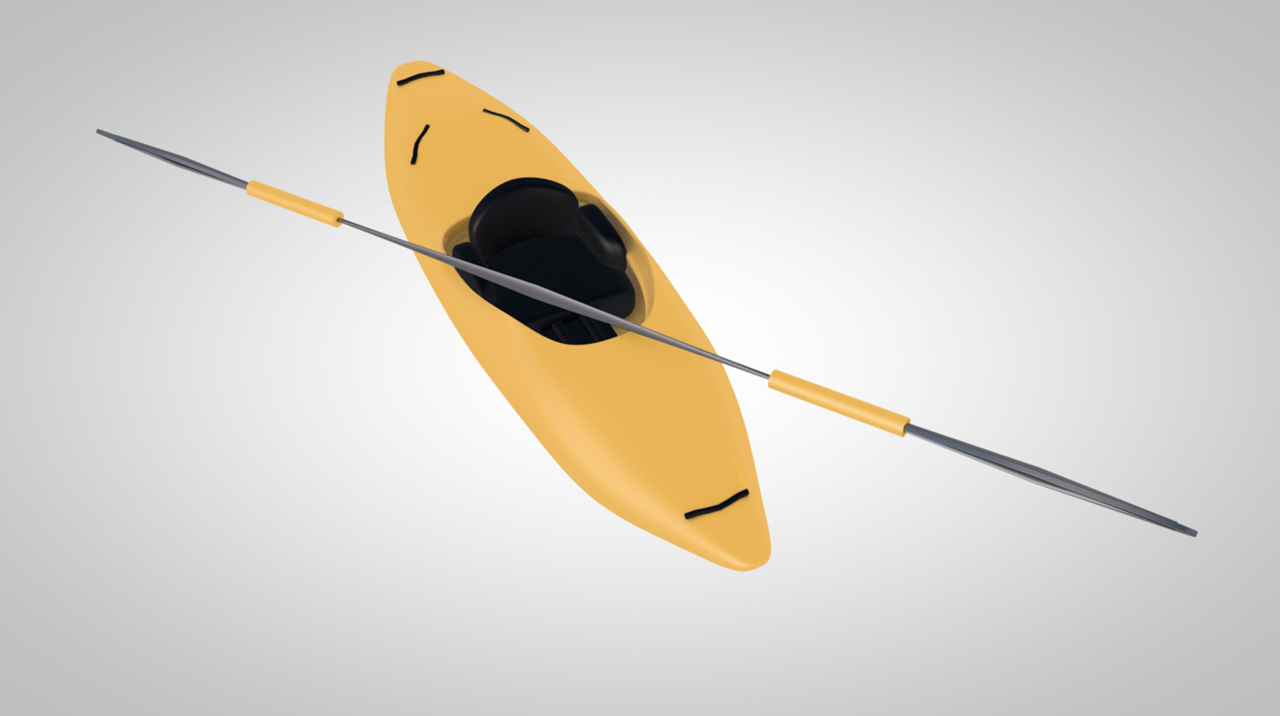 3D canoe paddle kayak model