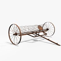 antique hay rake 3D