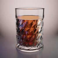 3D whiskey glass