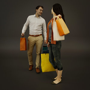 3D shopping people