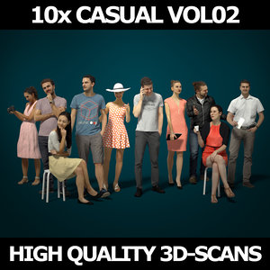 scanned people casual 10x 3D model