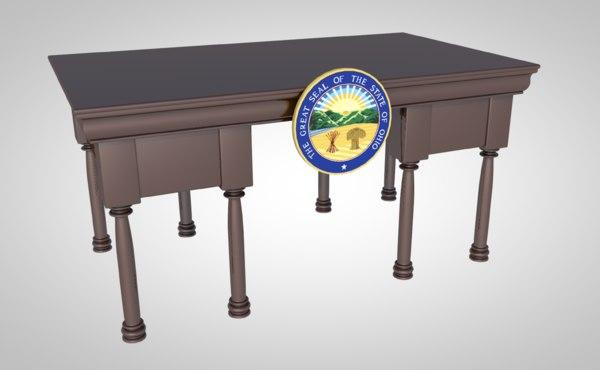 traditional desk furniture wood 3D model