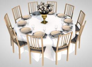 banquet table dinner 3D