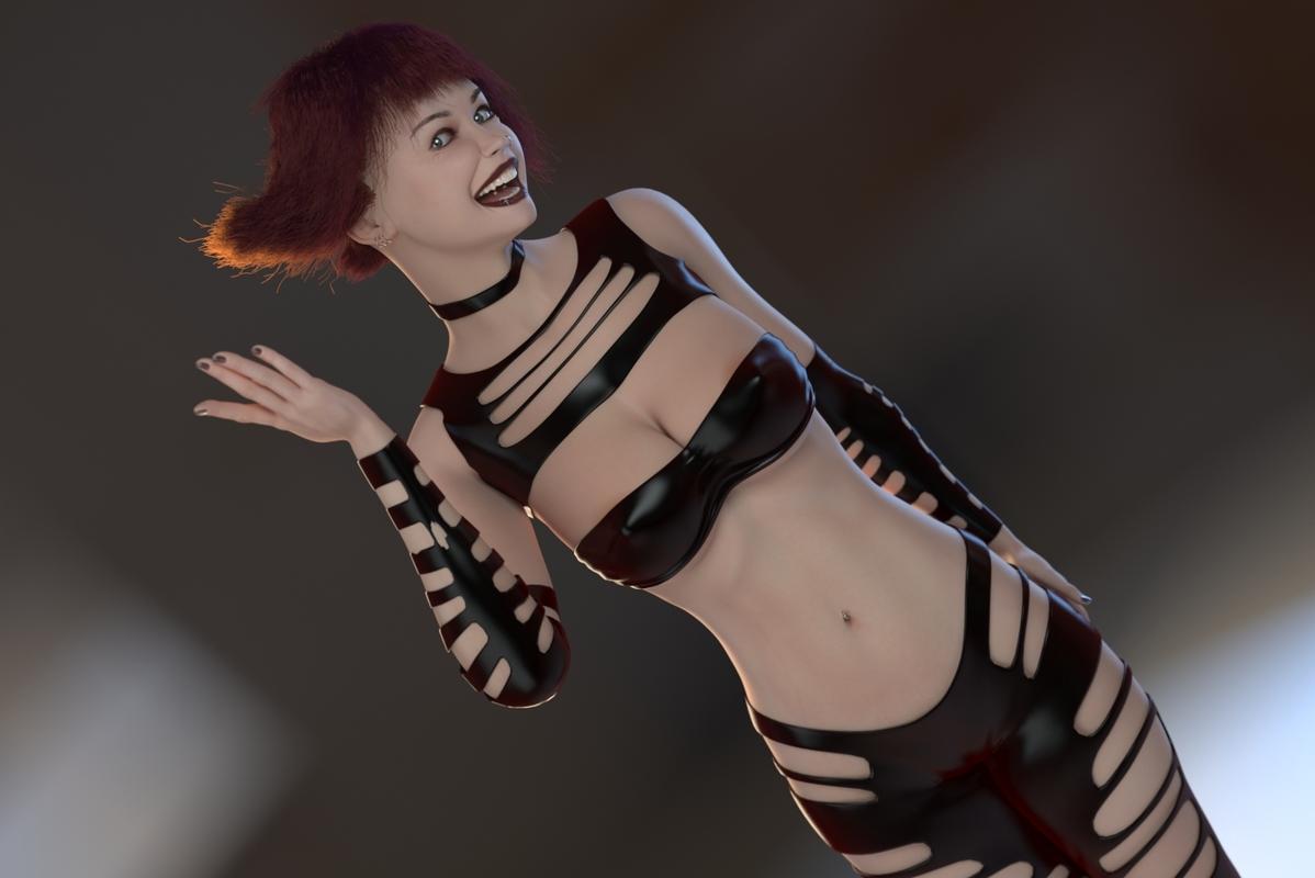 3D abbie female rigged model