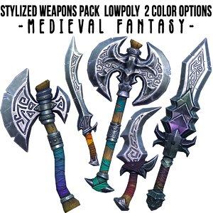 3D stylized axe sword weapon