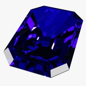 blue kashmir sapphire 3D model