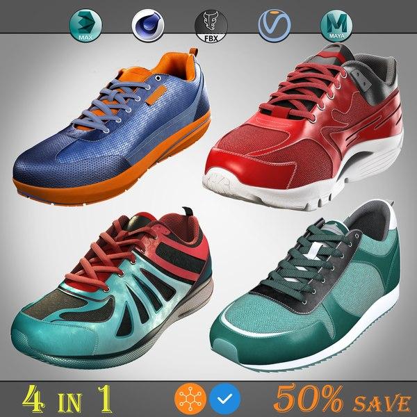3D model running shoes pack