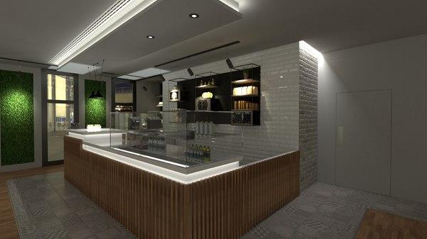 scene modern coffee shop model