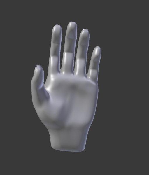 hand subdivision 608 faces 3D