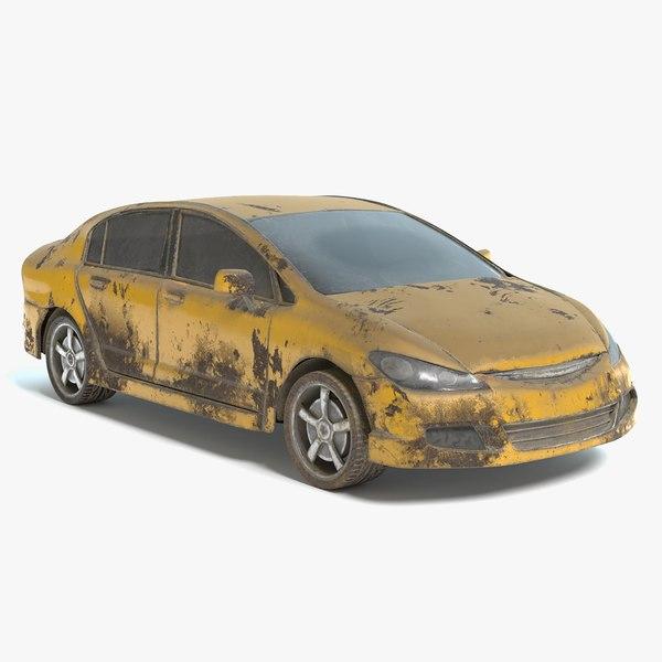 3D abandoned vehicle pbr model