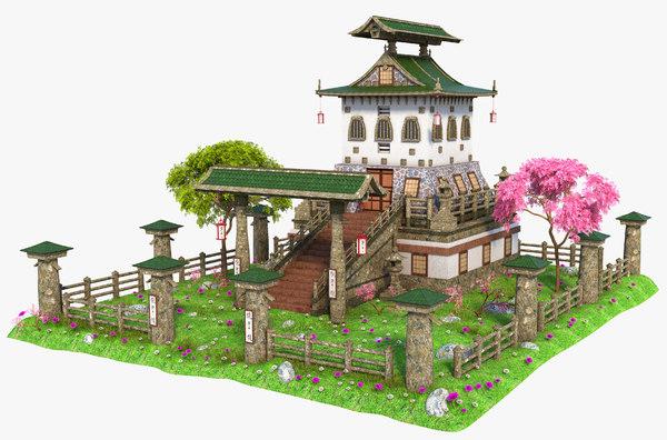 3D asia asian house