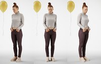Girl standing casual with balloon hands in pocket