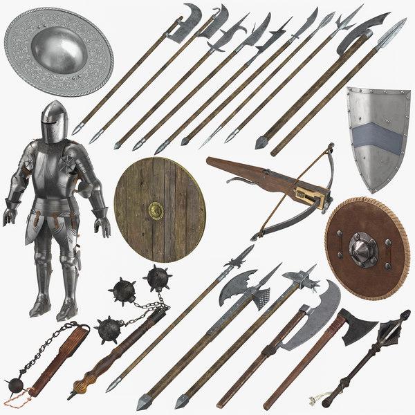 medieval battle weaponry armor 3D model