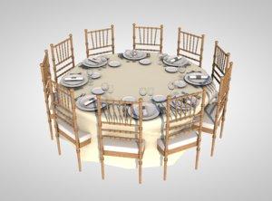 banquet table dinner 3D model