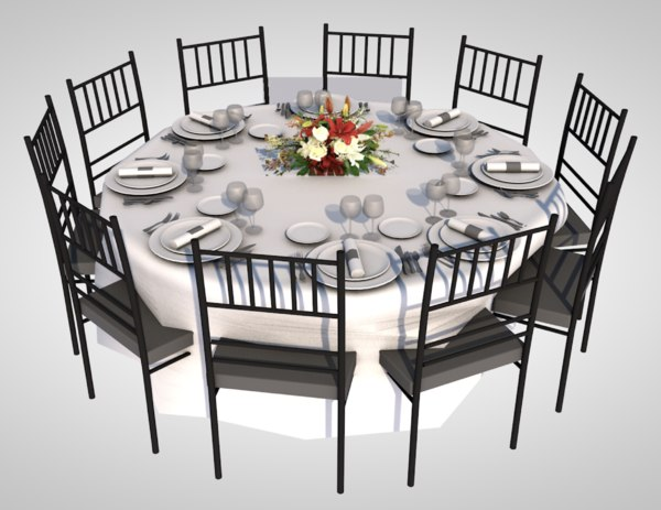 realistic dining table 3D model