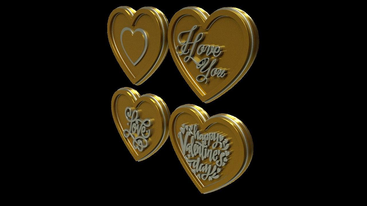 3D gold hearts model