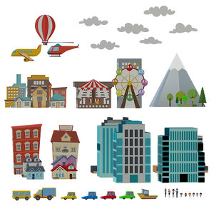 set urban items cartoon 3D model