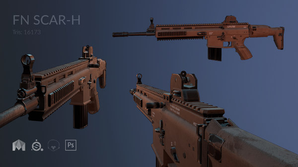 rifle fn scar-h low-poly model