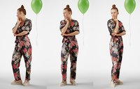 Fashionista Girl with balloon in cool catsuite
