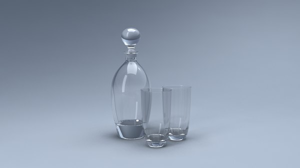 decanter glasses 3D model