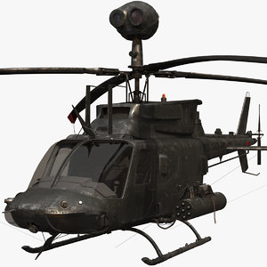 3D cockpit oh-58d helicopter model