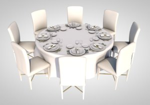 3D realistic dining table model