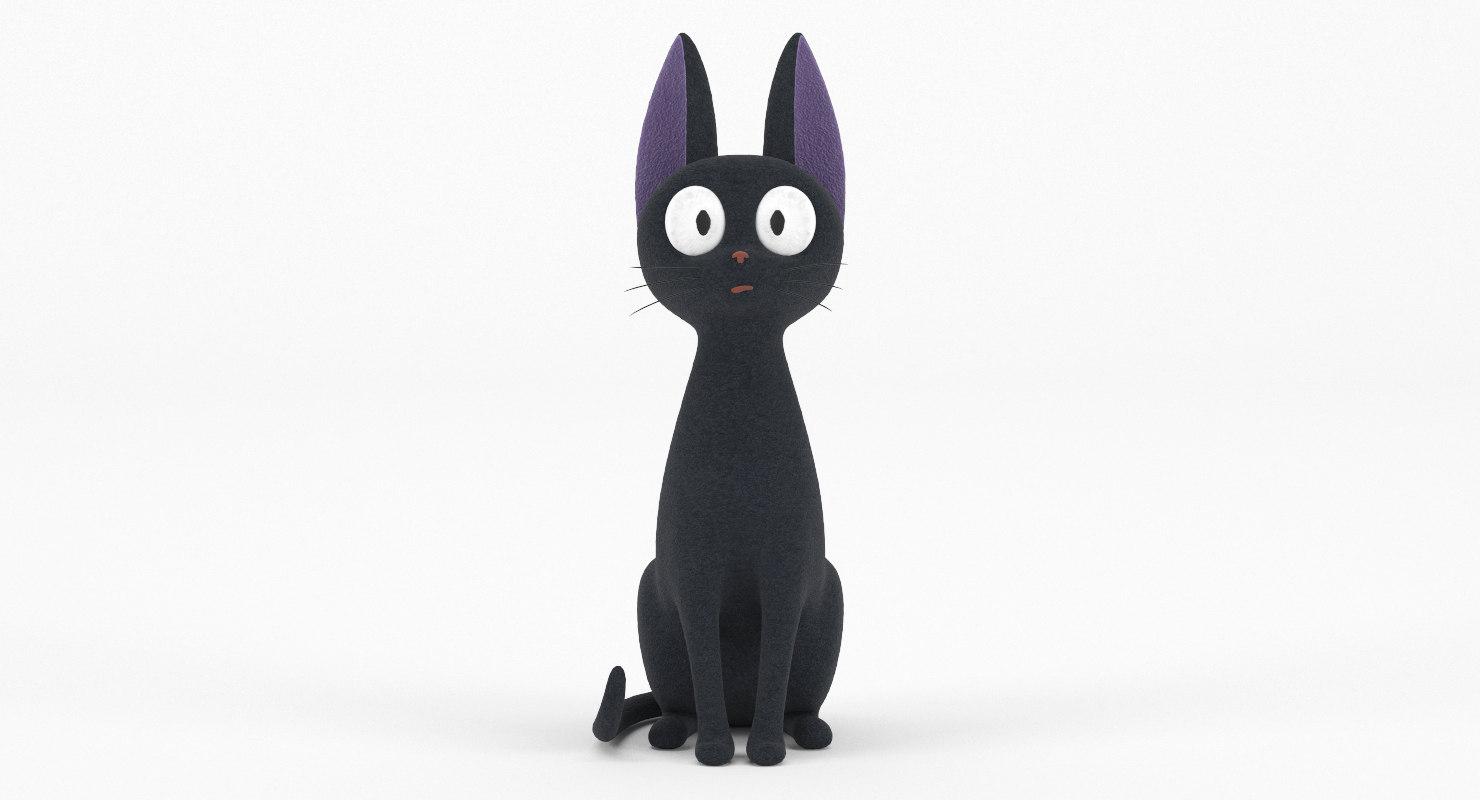 3D model realistic black cat toy