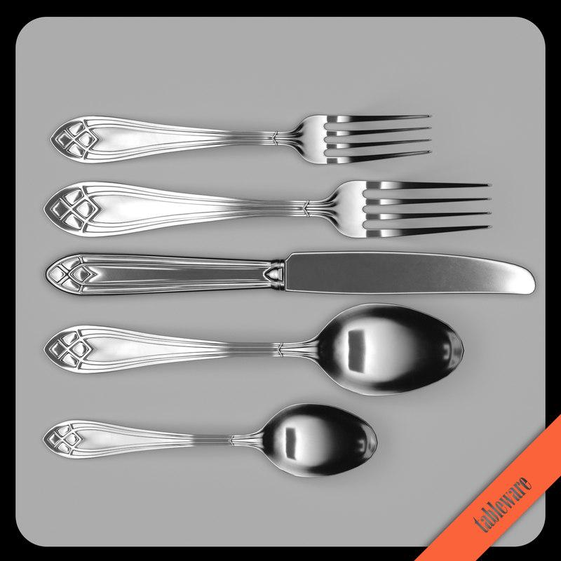 3D oneida cutlery table knife spoon