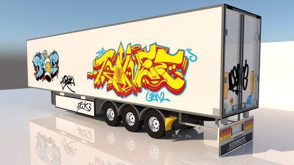 3D semi truck trailer model
