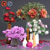 peonies vases bouquet plant flowers 3D model