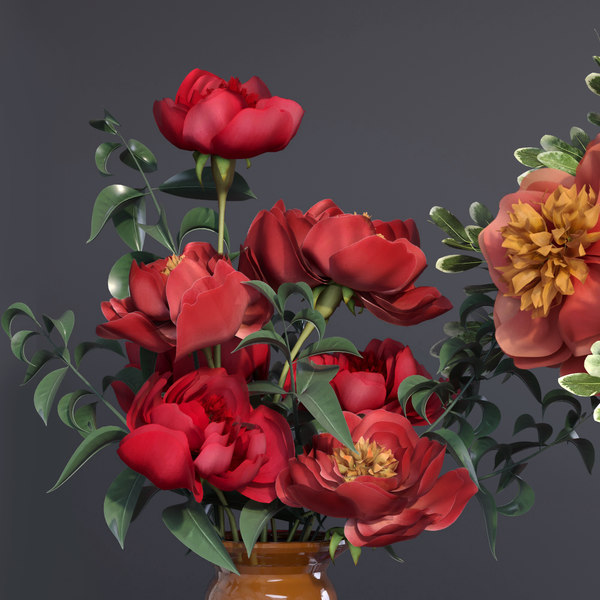 peonies vases bouquet plant flowers 3D model