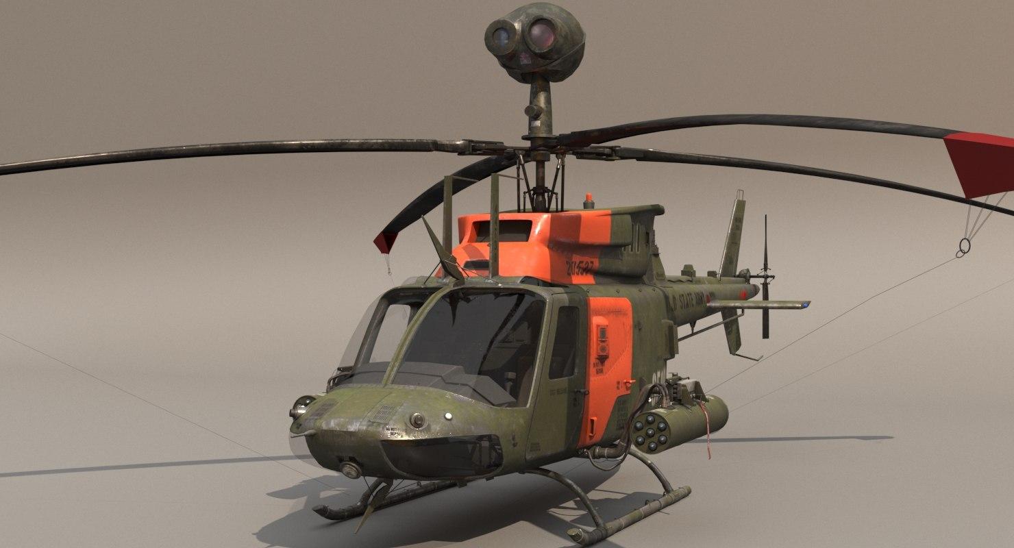 3D cockpit oh-58d helicopter model