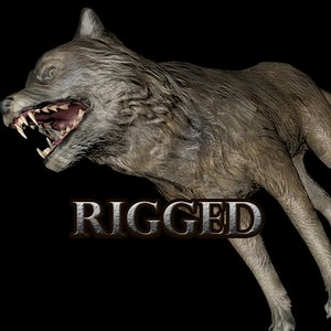 3D model wolf rig