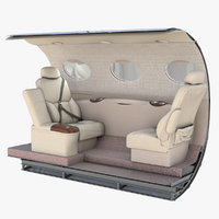 3D model cessna mustang wall seats
