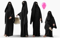 Collection of Arabic woman with balloon in 4 poses
