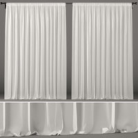 3D white tulle curtain