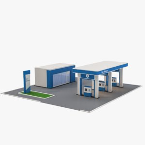 cartoon gas station 3D model