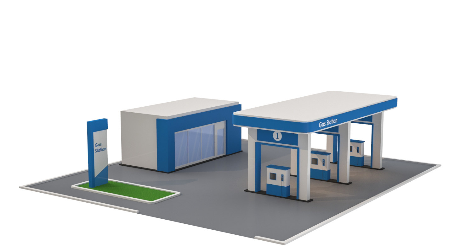 cartoon gas station 3D model