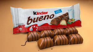 3D kinderbueno chocolate bars modeled model