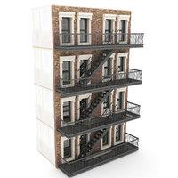3D modular apartment building new york model