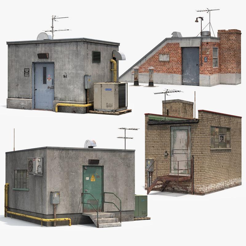 roof buildings set 3D model