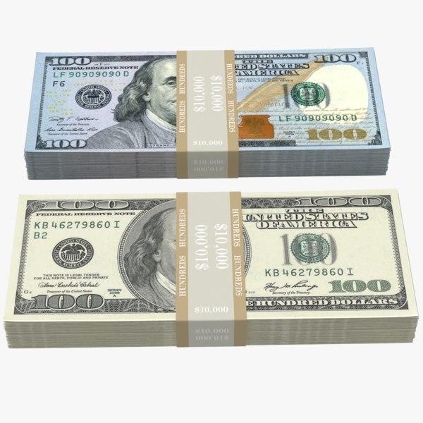 3D 100 dollars bill stack model