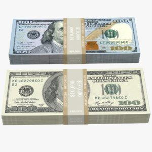 3D 100 dollars bill stack model