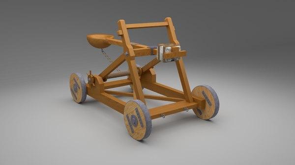 3D catapult medieval war model