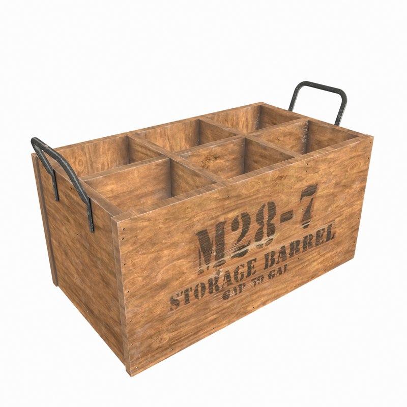 wooden wine crate wood model